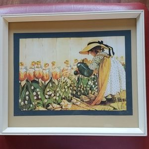 Vintage Holly Hobbie Type Picture 11 x 13.